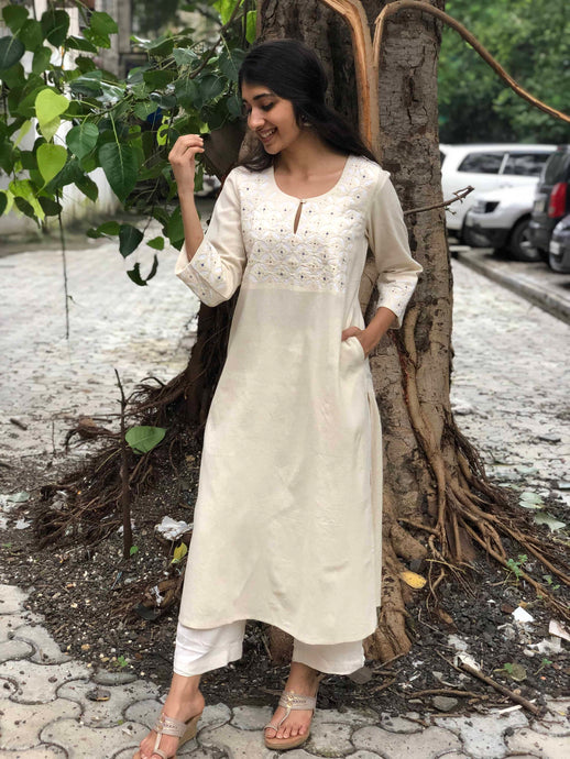 Off - White Hand Embroidered Yoke+ Mukaish Work Kurta