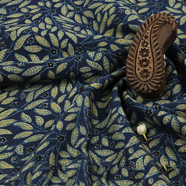Blue Leafy Ajrakh Chanderi Natural Dyed Fabric