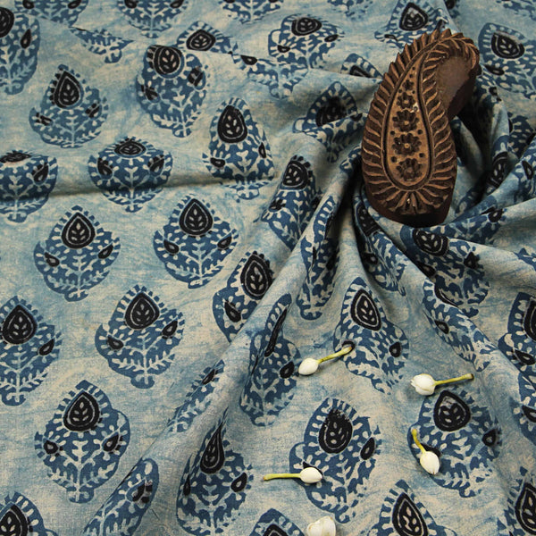 Aasmani Cotton Ajrakh Natural Dyed Fabric