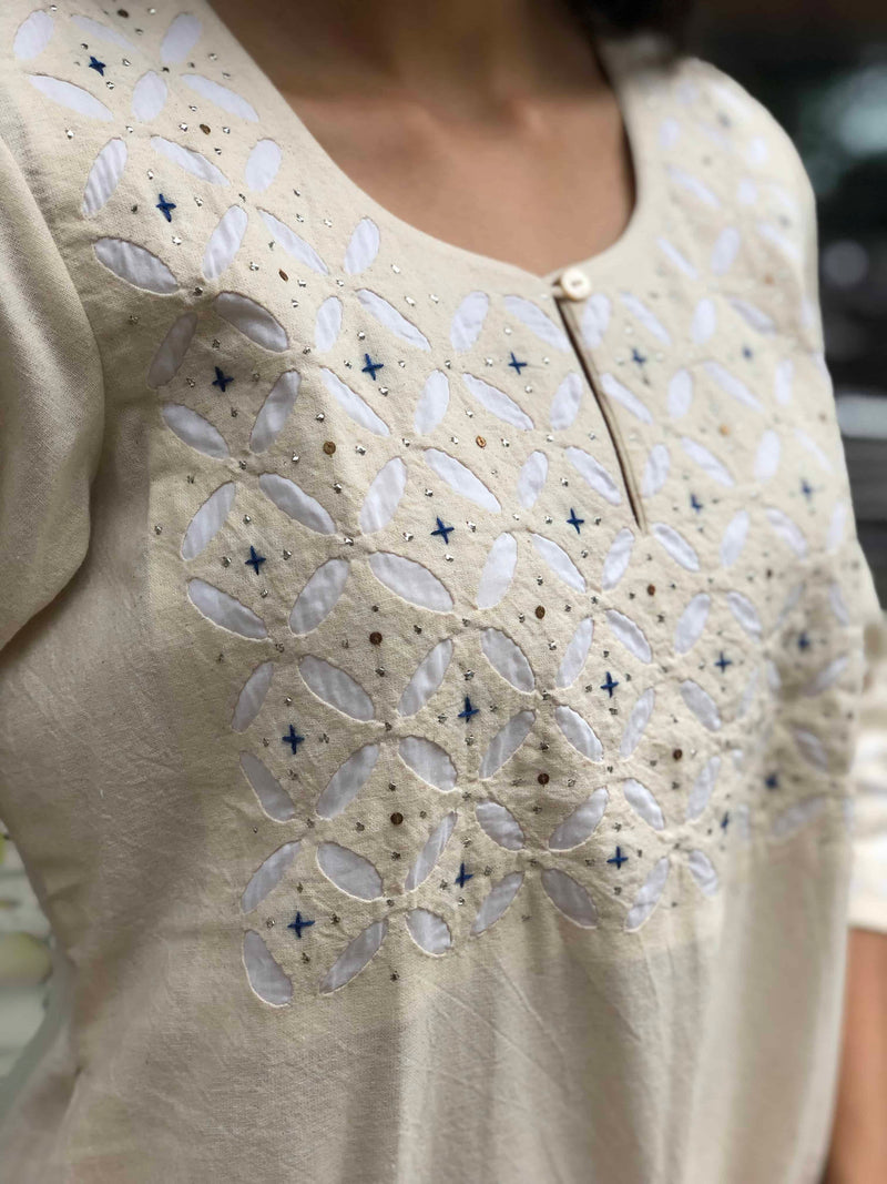 Off - White Hand Embroidered Yoke + Mukaish Work Kurta