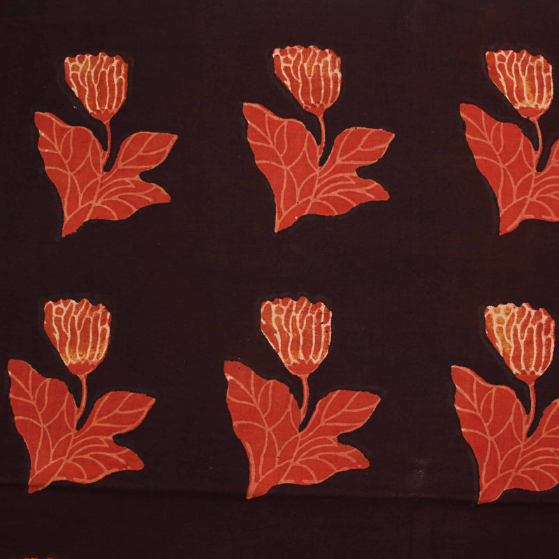 Dark Brown With Orange Lotus Bagru Hand Block Printed Cotton Fabric