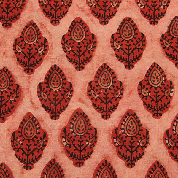 Red Cotton Ajrakh Natural Dyed Fabric