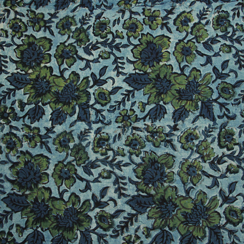 Green Floral Jaal Dabu Natural Dyed Fabric