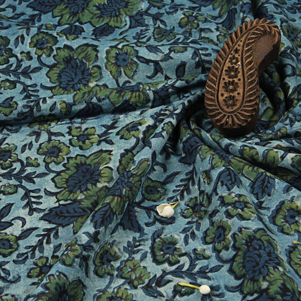 Green Floral Jaal Ajrakh Natural Dyed Fabric