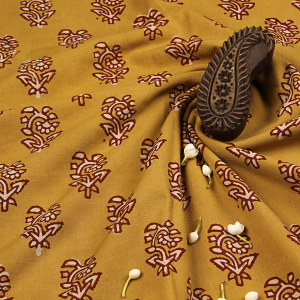 Yellow Balotara Hand Block Printed Cotton Fabric