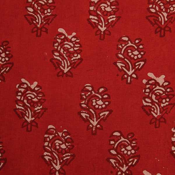 Red Balotra Hand Block Printed Cotton Fabric