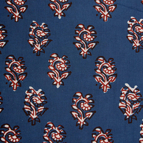 Dark Blue Balotra Hand Block Printed Cotton Fabric