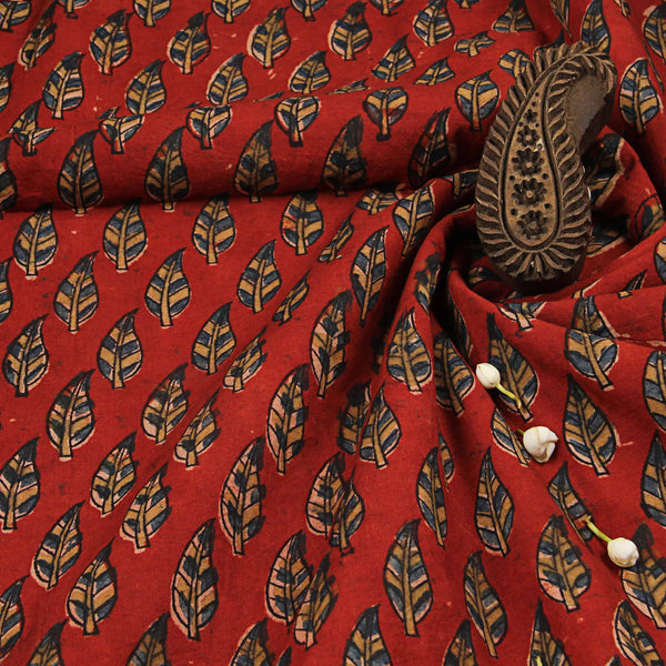 Red With Blue Leaf Cotton Ajrakh Natural Dyed Fabric