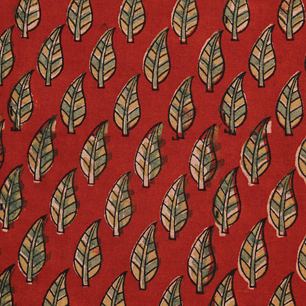 Red With Green Leaf Cotton Ajrakh Natural Dyed Fabric