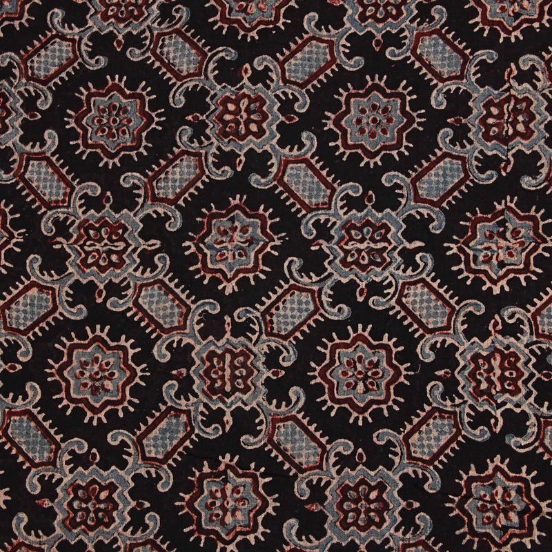 Black Mul Ajrakh Natural Dyed Fabric
