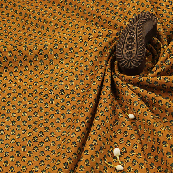 Yellow Small Butti Cotton Ajrakh Natural Dyed Fabric