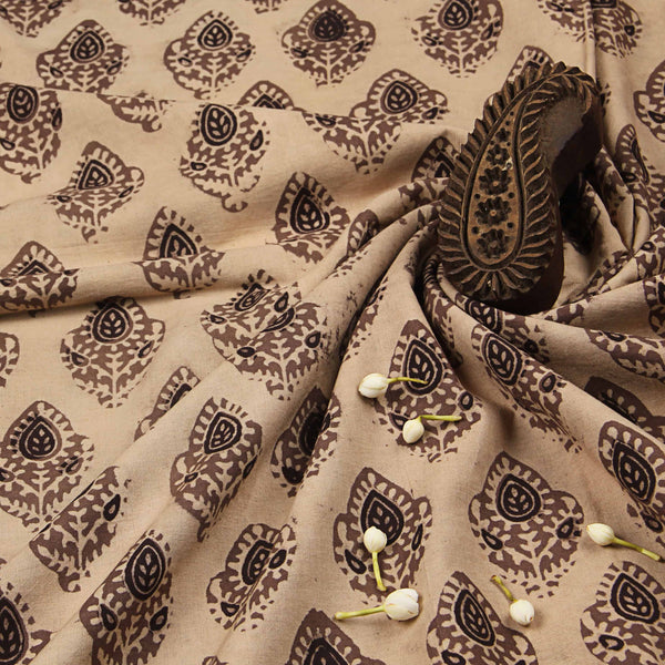Beige Cotton Ajrakh Natural Dyed Fabric