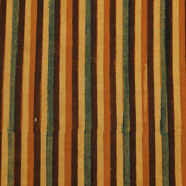 Orange Stripes Border Ajrakh Natural Dyed Fabric