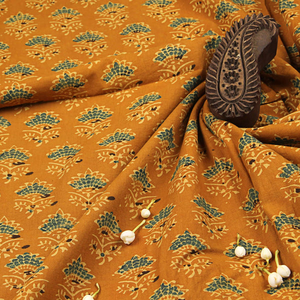 Natural Dyed Yellow Taaj Butti Ajrakh Cotton Fabric