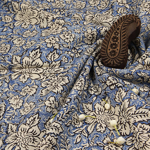 Sky Blue Bagru Floral Print Ajrakh Natural Dyed Fabric