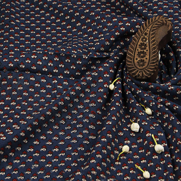 Dark Blue Small Butti Cotton Ajrakh Natural Dyed Fabric