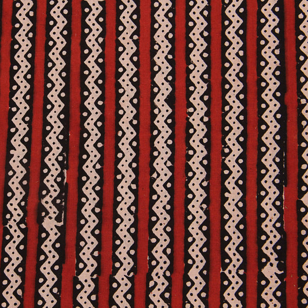 Zigzag Border Bagru Cotton Fabric