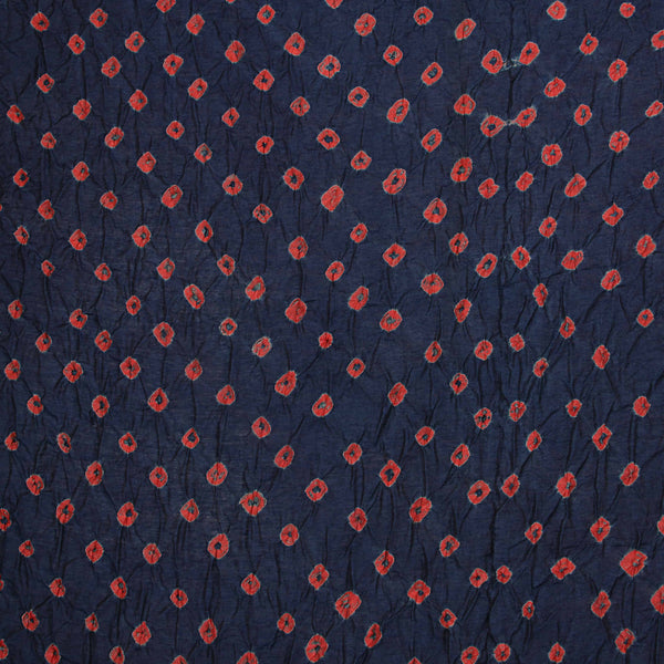 Navy Blue Chanderi Bandhej Fabric (3 meters)