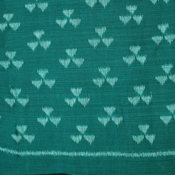 Peacock Green Triangle Print Ikkat Fabric