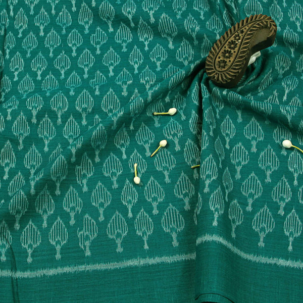 Peacock Green With Leafy Print Ikkat Fabric