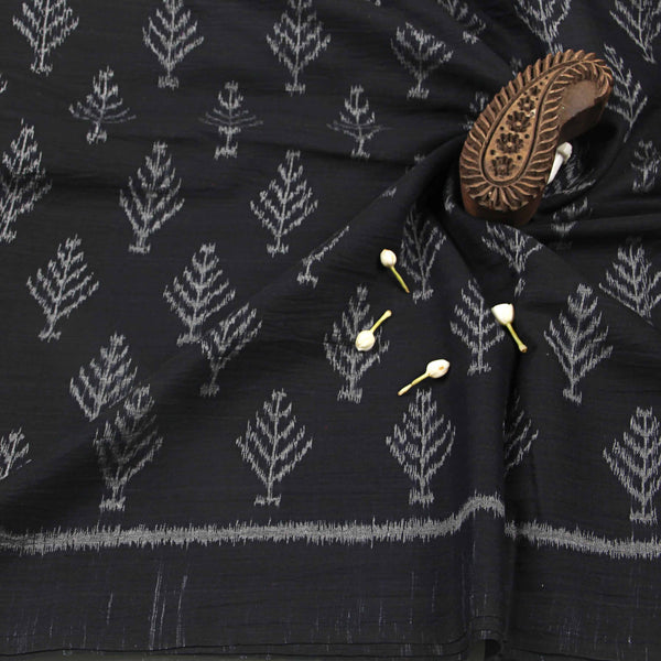 Greyish Black With Ancient Print Ikkat Fabric