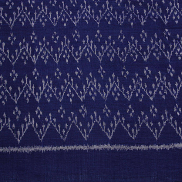 Blue With Ancient ZigZag Print Ikkat Fabric