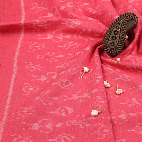 Watermelon Pink With Worli Print Ikkat Fabric (2.5)