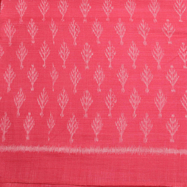 Watermelon Pink With Ancient Print Ikkat Fabric