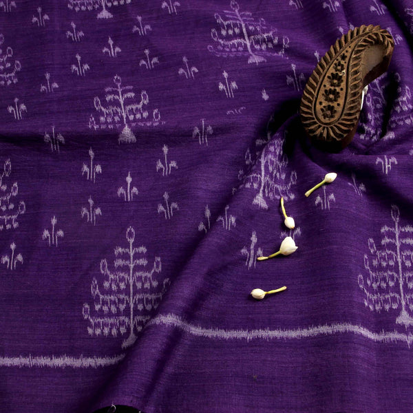 Purple With Ancient Print Ikkat Fabric