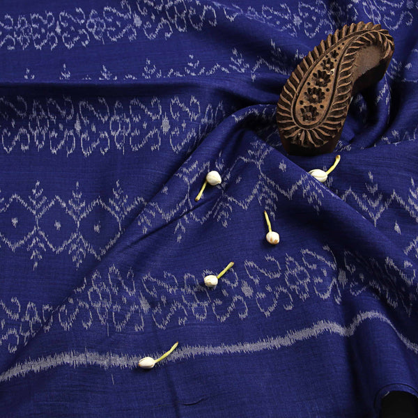 Royal Blue With Ancient Print Ikkat Fabric