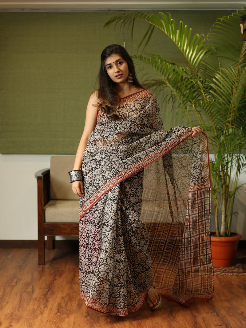 Kota Doria Natural Dyed Saree