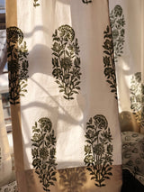 Olive Flower Garden Organic Cotton Door Curtain