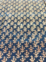 Indigo Choti Butti Blouse/Short Top Fabric (1.80meters)