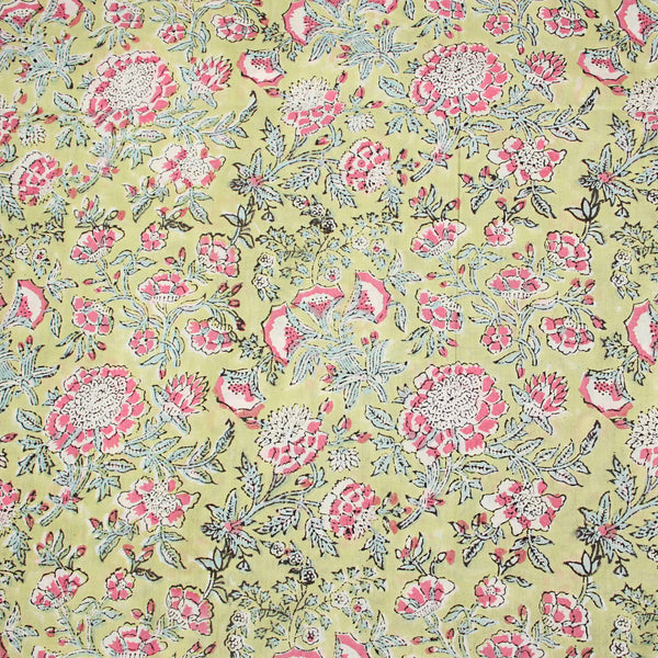 Light Yellow Sanganeri Hand Block Print Fabric