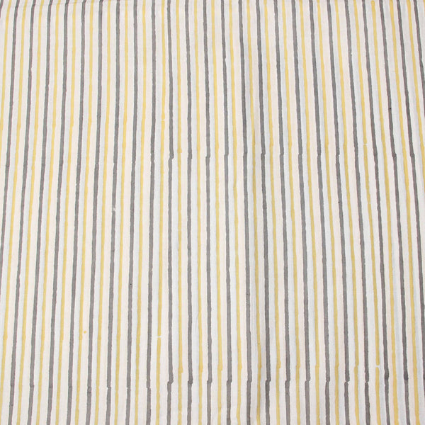 Off White Sanganeri Hand Block Striped Print Fabric
