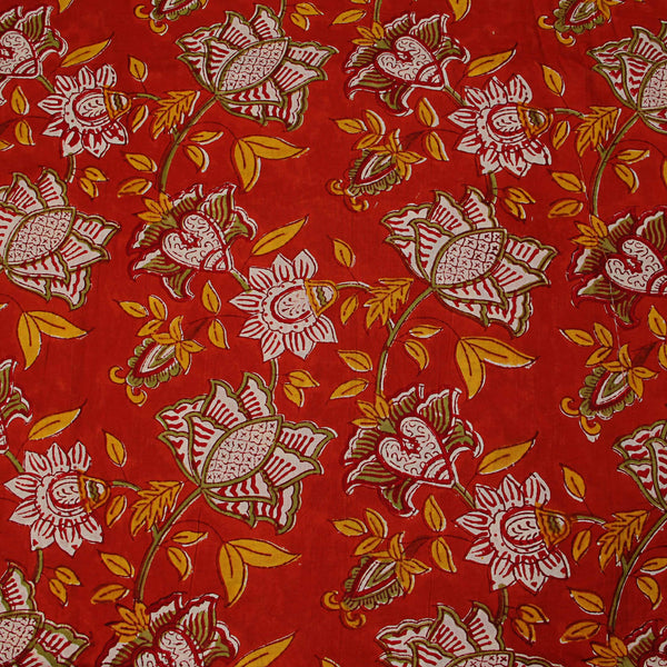 Red Lotus Jaal Sanganeri Hand Block Print Fabric
