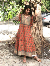 Kesariya Dahlia Patch Work Kurta