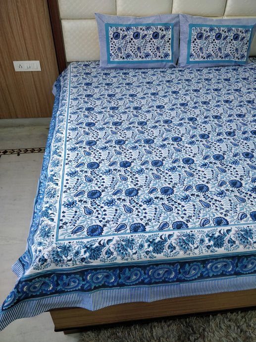 Jaipur Arctic Bed Sheet + Pillow Covers