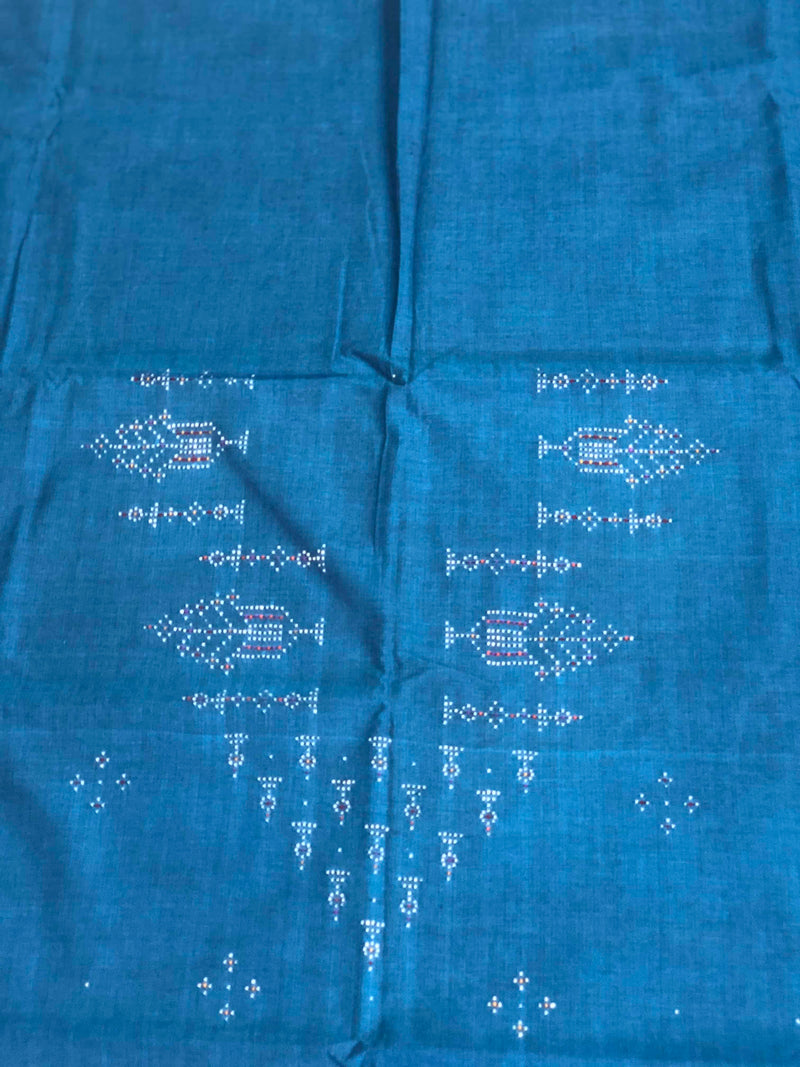Deep Blue Tangalia Hand Work Kurta Fabric 3 mtrs