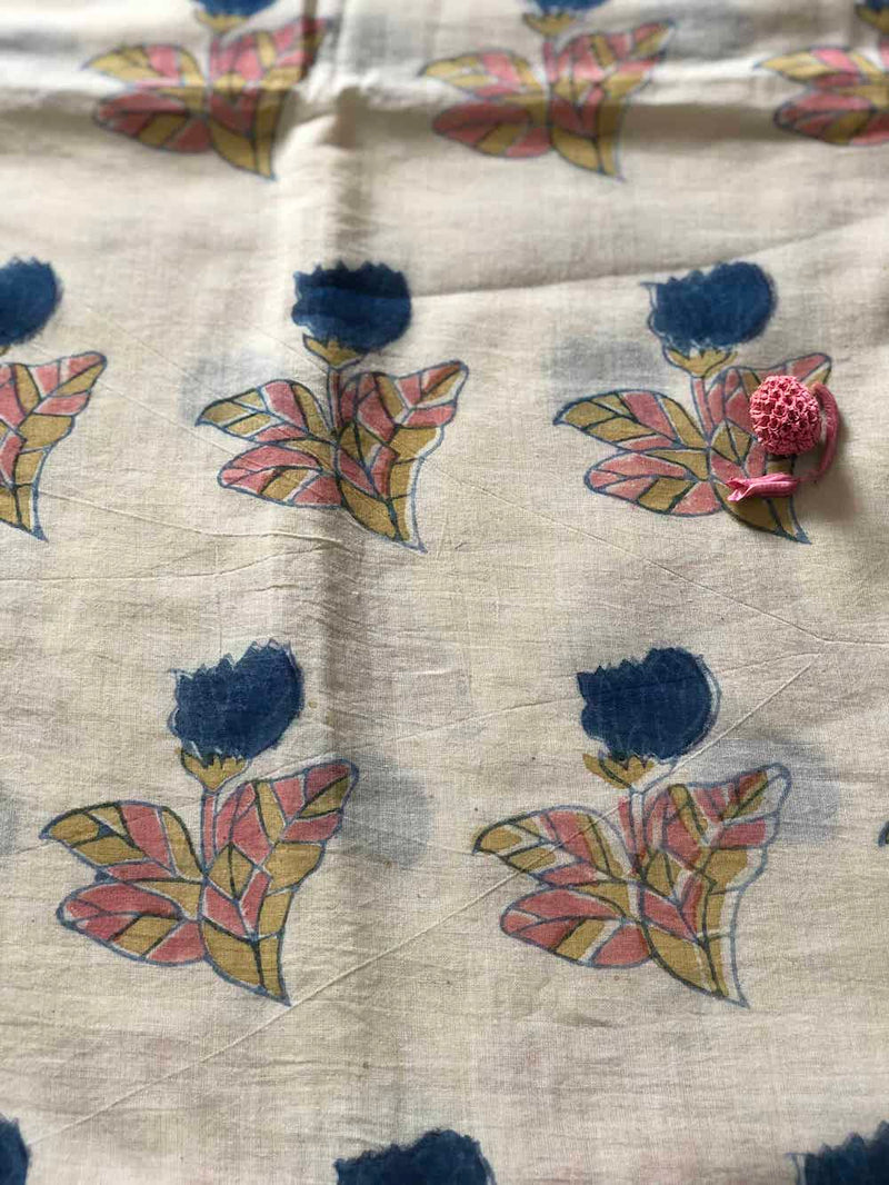 Pastel Tulip Block Printed Cotton Fabric