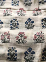 Floral Bouquet Block Printed Mul Mul Fabric