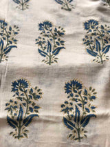 Iris Block Printed Mul Mul Fabric