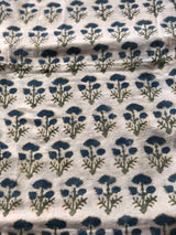 Dahlia Block Printed Mul Mul Fabric