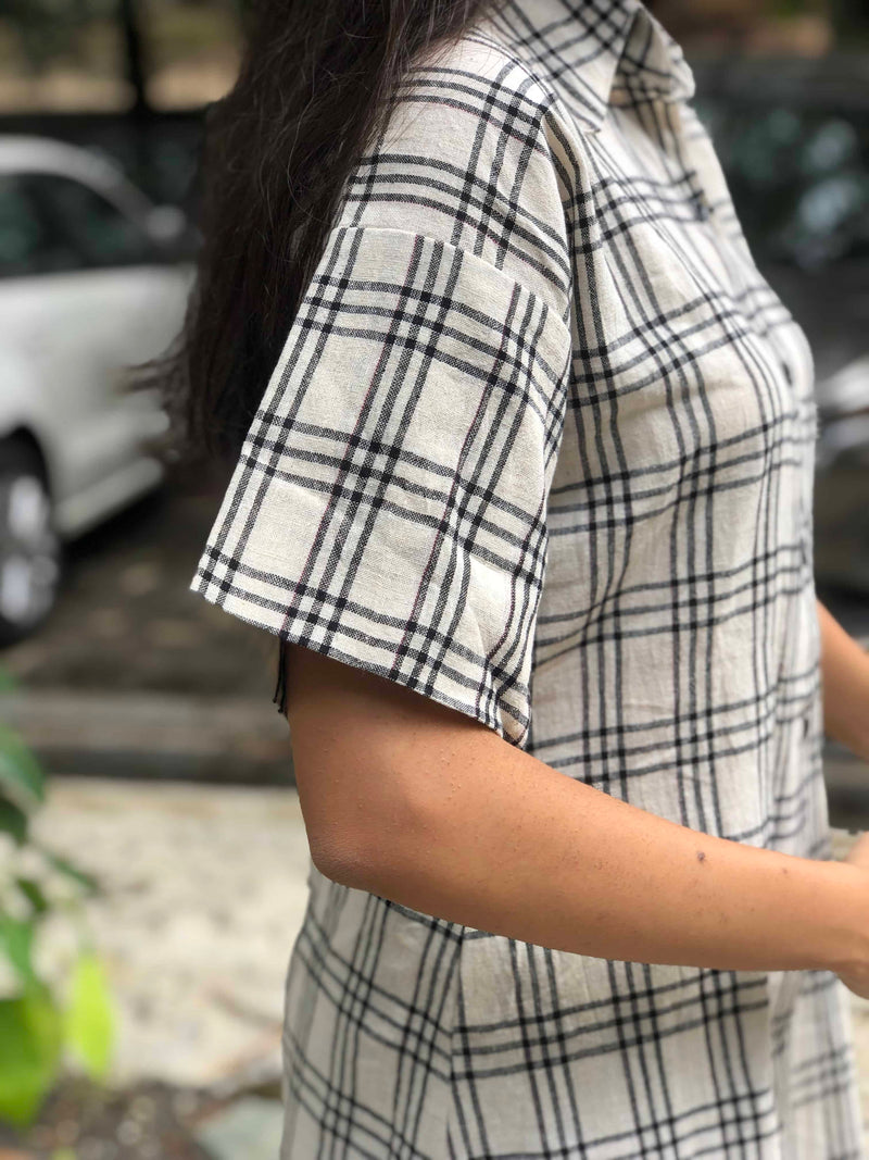 Off White Chequered  Shirt Top