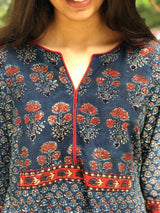 Indigo Small Butti Patch Work Kurta