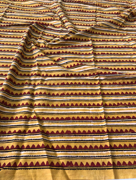 Yellow Ajrakh Stripes Blouse Fabric (1.50m)