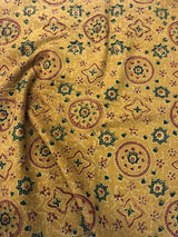 Yellow Ajrakh Print Blouse Fabric (1m)
