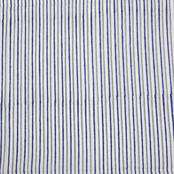 Indigo-Grey Striped Sanganeri Hand Block Print Fabric