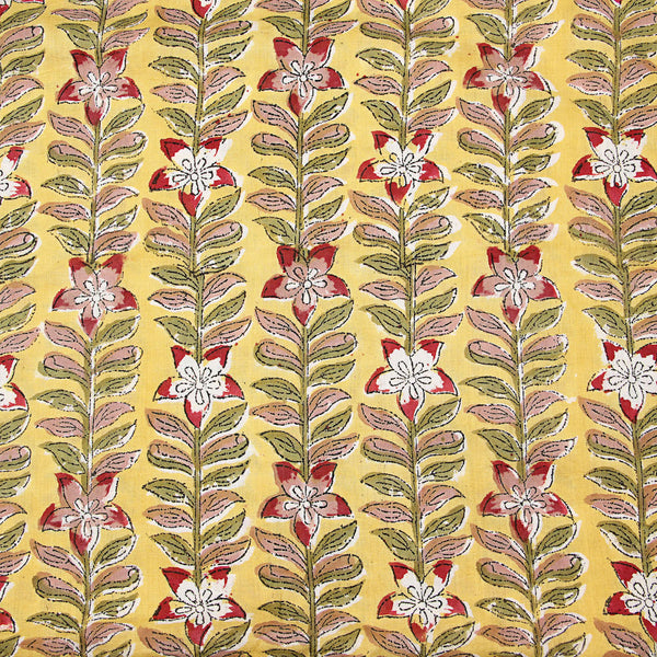 Yellow Field of Flowers Sanganeri Cotton Fabrics