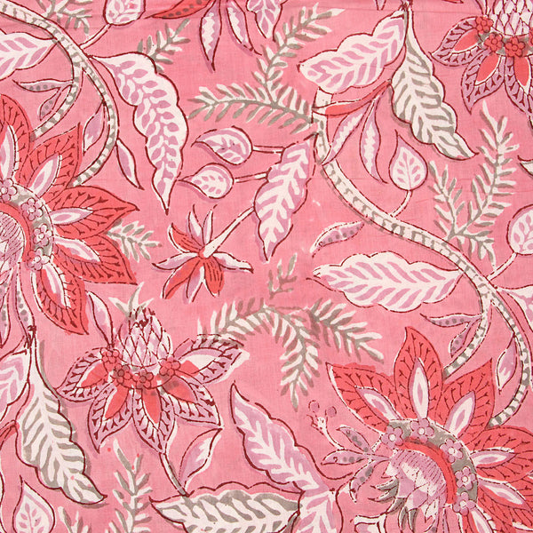 Pink Tropical Sanganeri Cotton Fabrics